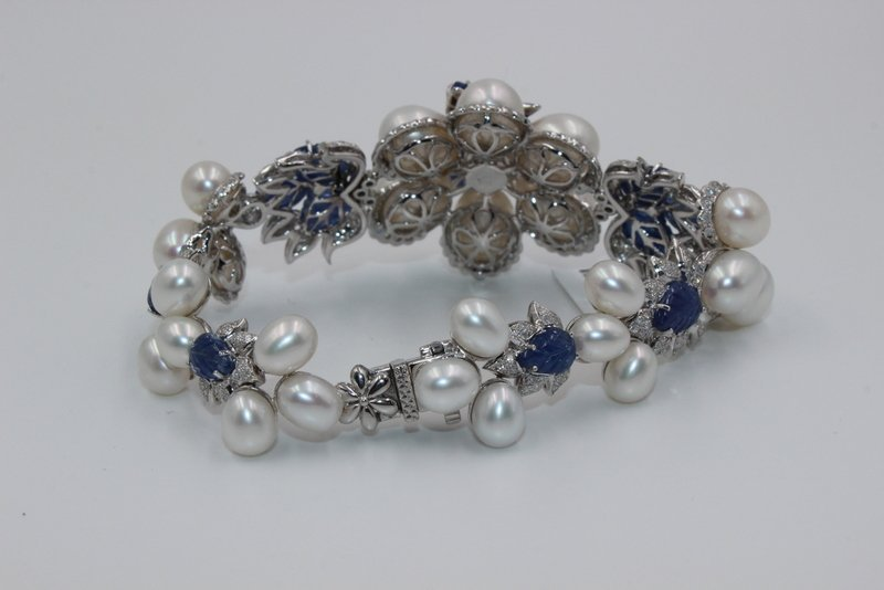 18Kt WG 3.12ct. Diamond & 23.58 Sapphire Bracelet - 3
