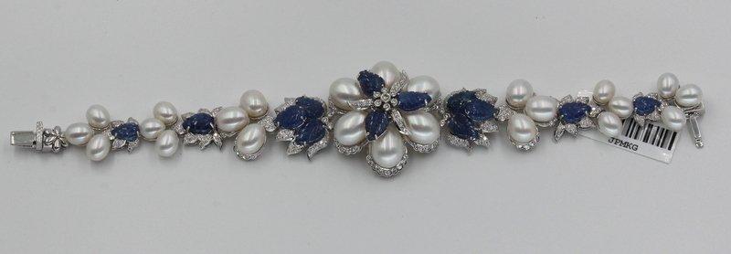 18Kt WG 3.12ct. Diamond & 23.58 Sapphire Bracelet - 4