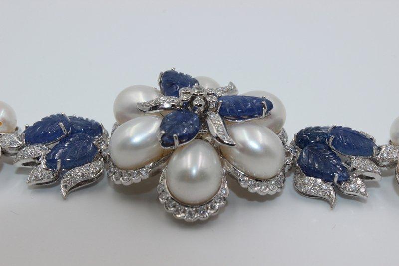 18Kt WG 3.12ct. Diamond & 23.58 Sapphire Bracelet - 5