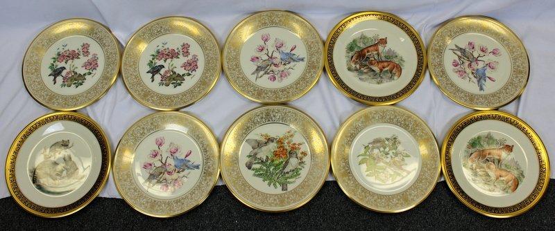 10 Lenox Plates Handpainted by Boehm