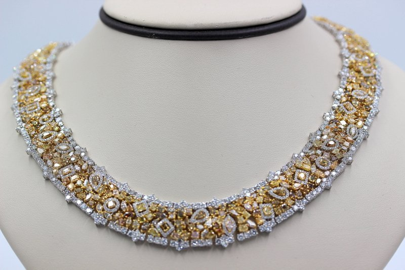 18K WG 76ct. Champagne & White Diamond Necklace
