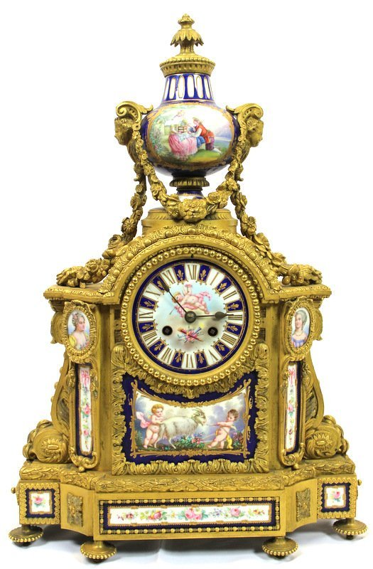 19th C. Sevres Dore Bronze & Porcelain Mantle Clock