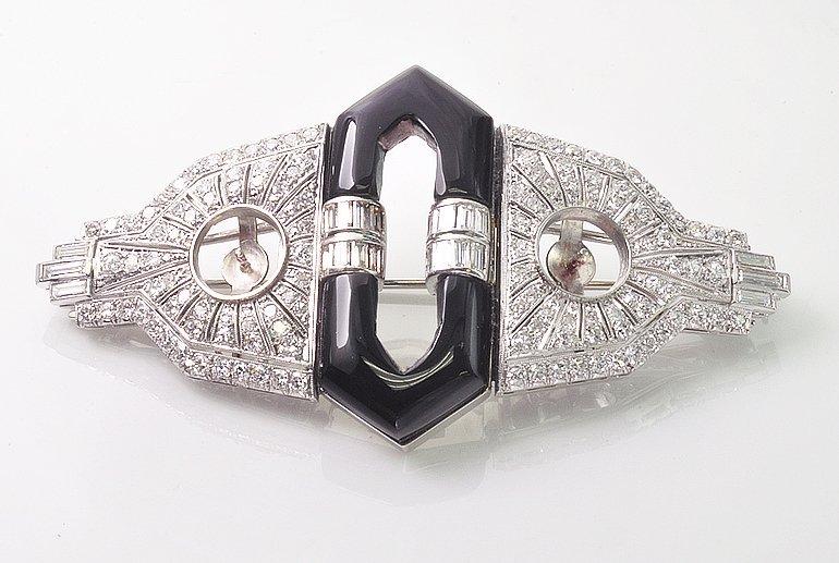 Exquisite Art Deco Platinum Diamond And Onyx Double