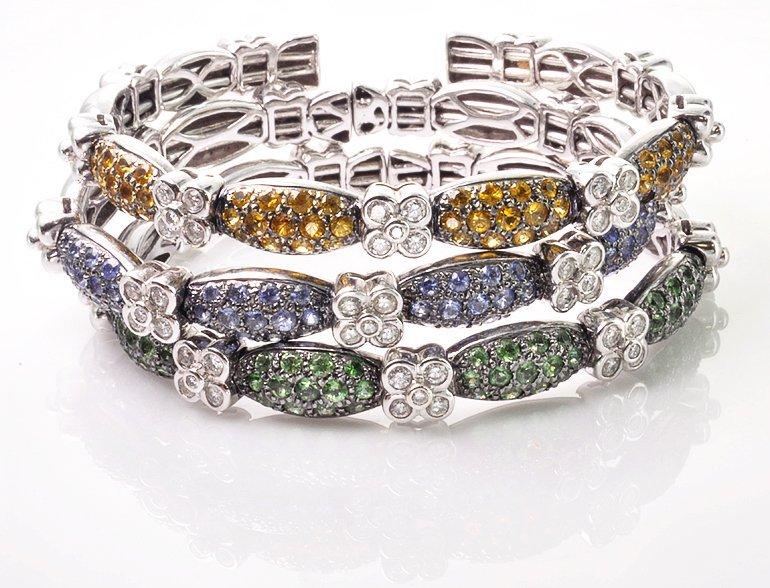 Contemporary 18K White Gold Diamond Gemstone Bangles