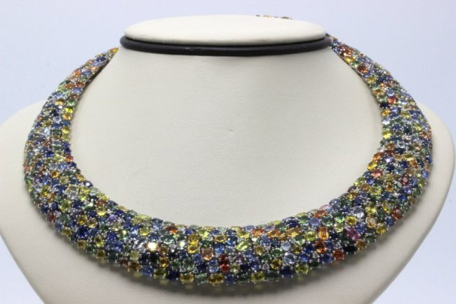 Exquisite 18Kt WG 179.40ct. Colored Sapphire & 3.00ct.