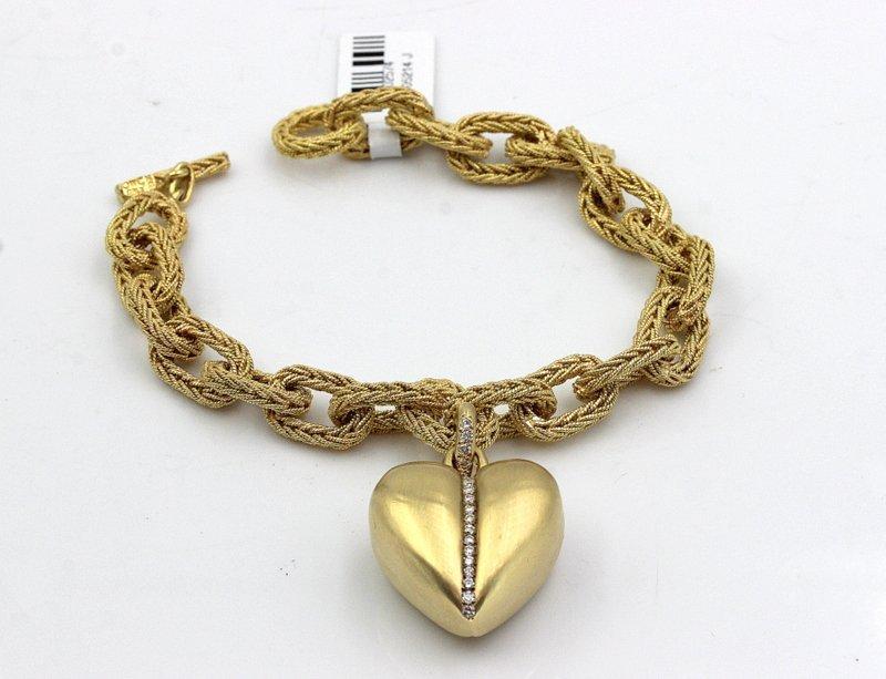 18Kt YG Wide Link & YG Heart Shaped Pendant