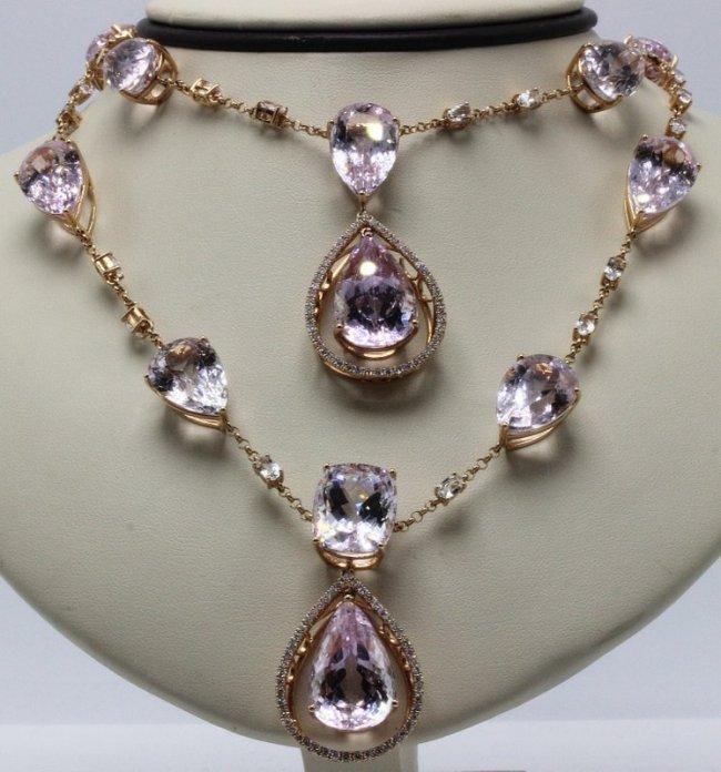18Kt RG 175ct. Kunzite, 8.60ct. Topaz & 2.50ct. Diamond