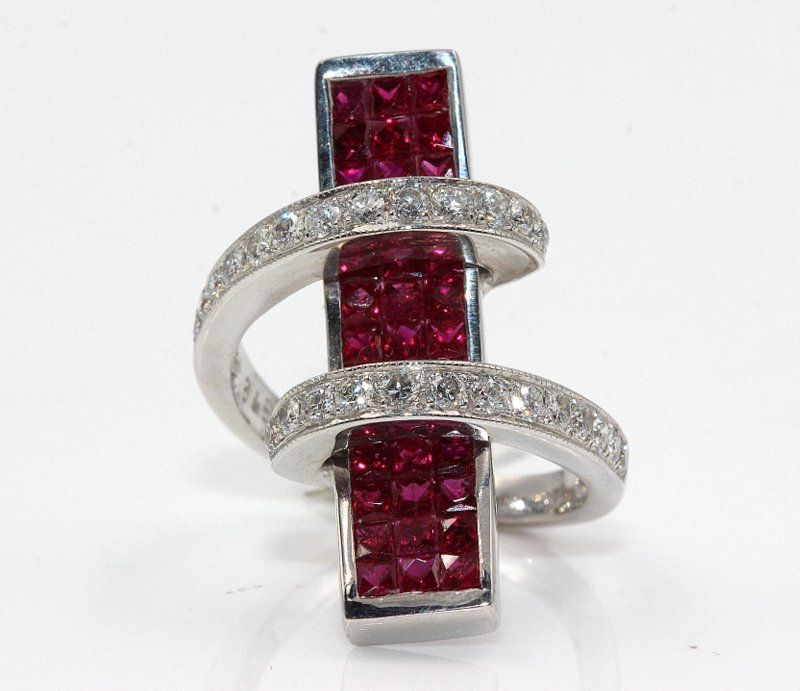 18Kt WG 0.78ct. Diamond & 1.95ct. Ruby Cocktail Ring