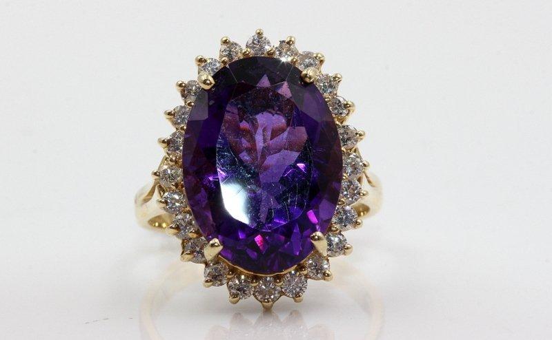 14Kt YG 1.2ct. Diamond & 10ct. Amethyst Ring