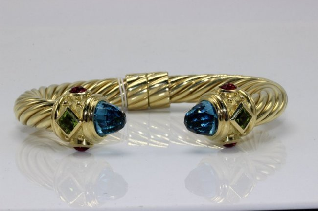 David Yurman 18Kt YG Cable Cuff Bracelet