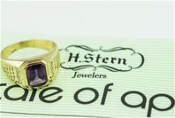 H Stern 18Kt Yellow Gold Mens Amethyst Diamond Ring