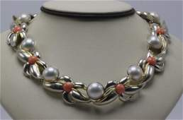 Tiffany & Co. 18Kt Coral & Mabe Pearl, Sterling Silver