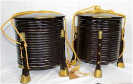 Pair of Kimono Round Black Lacquered Boxes with Silk
