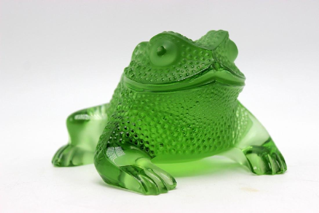 Lalique Green Glass Frog Signed