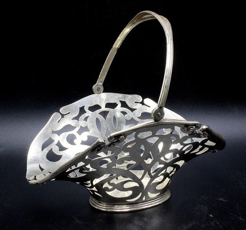 Sterling Silver Pierced Swing Handle Basket