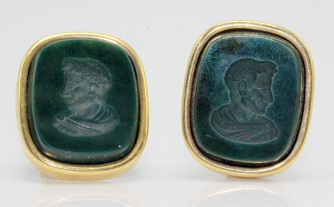 14Kt YG & Green Stone Cufflinks
