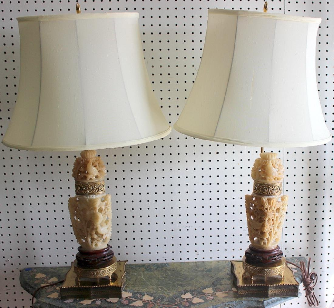 Pair of Chinese Hardstone Lamps