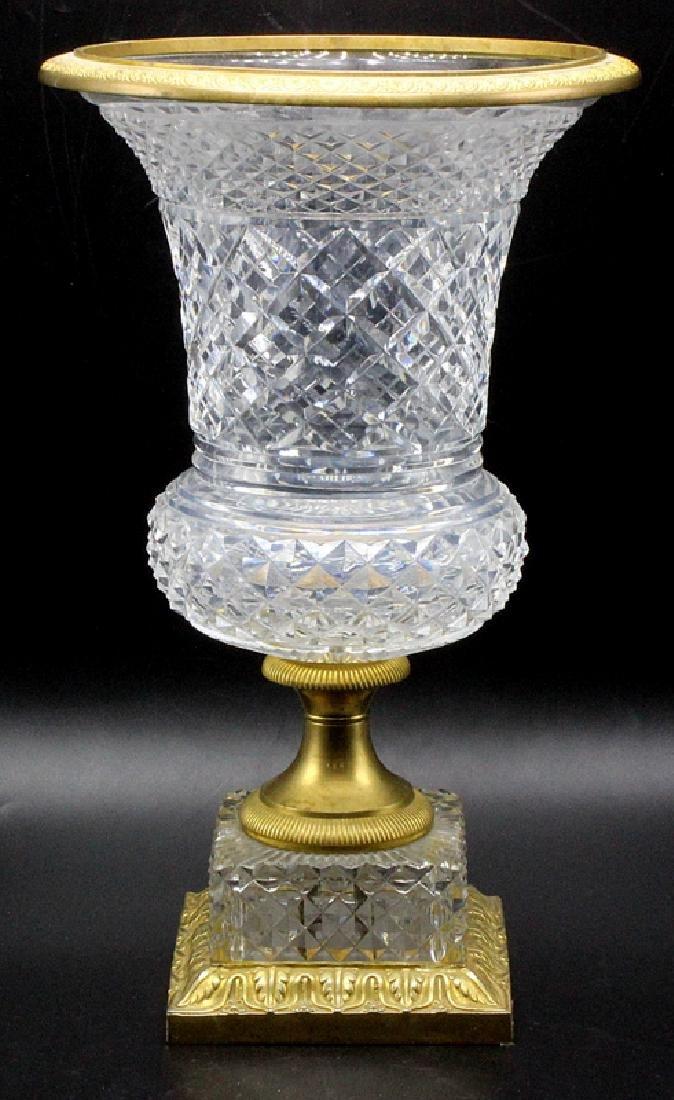 19th Century Dore Bronze Baccarat Cut Crystal Campania