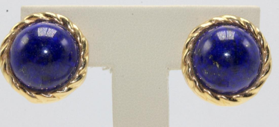 14Kt YG & Lapis Lazuli Earrings