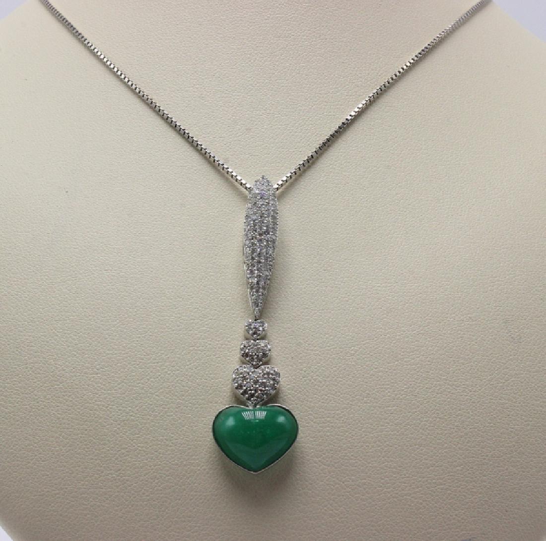 14Kt WG 1.30ct. Diamond & Emerald Heart Pendant & Chain