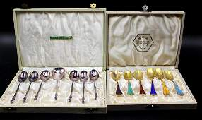 2 Boxed Sets of Danish Sterling Silver Spoons