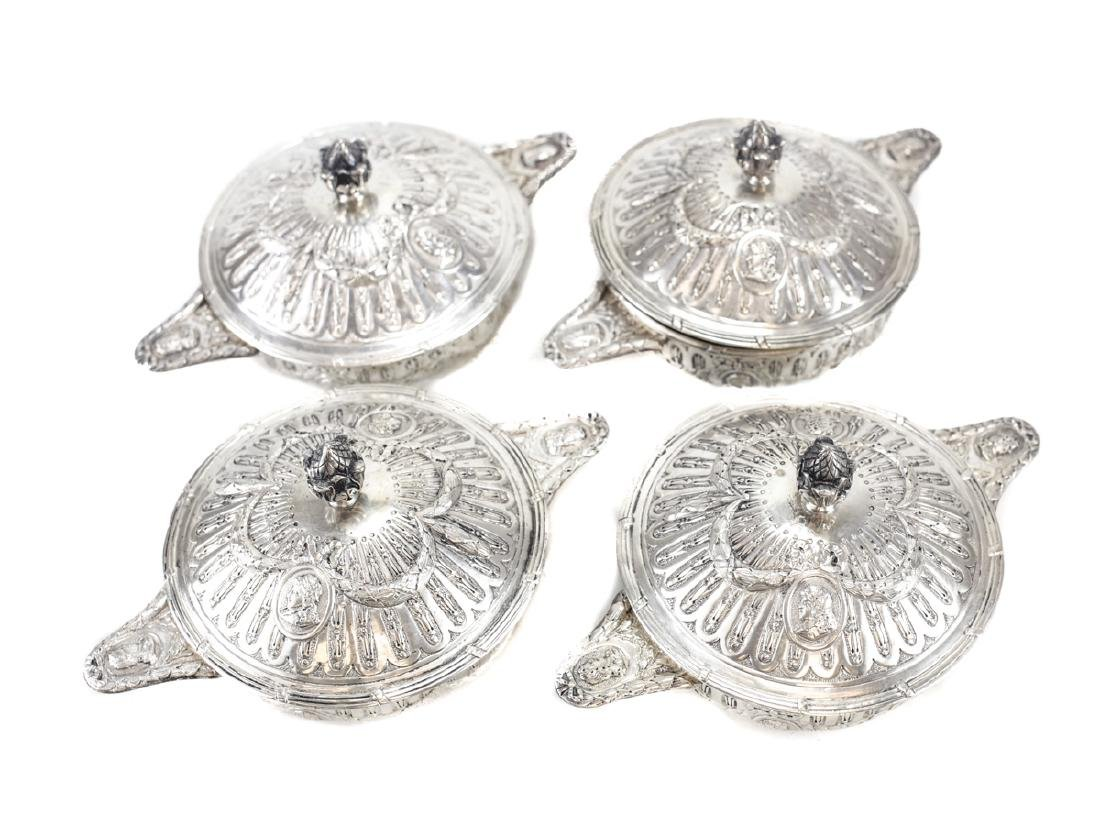 Four German Silver Lidded Soup Bouillons