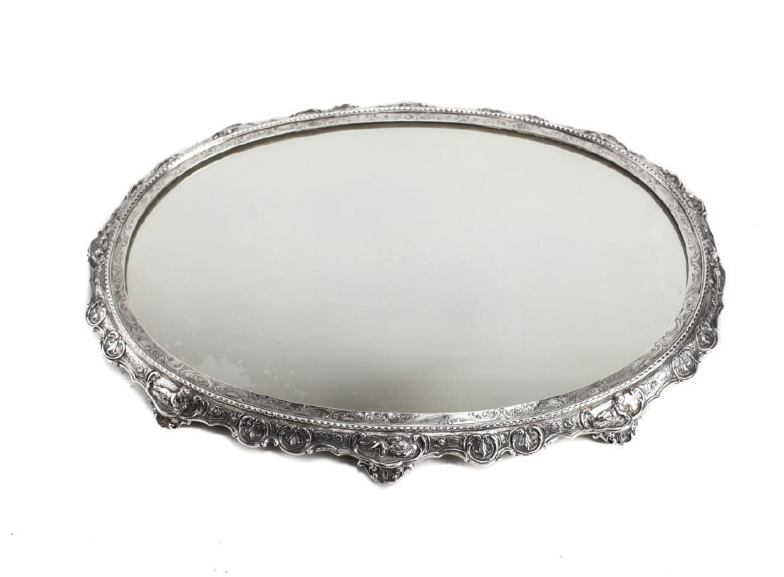 19th Century German Sterling Silver Table Mirror