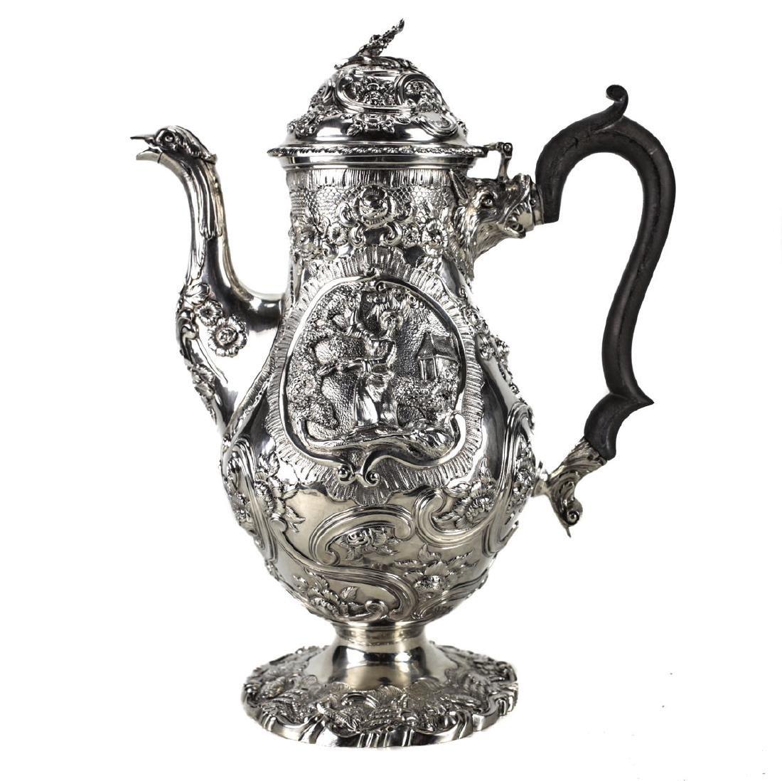 A Regency Sterling Silver Coffee Pot by William