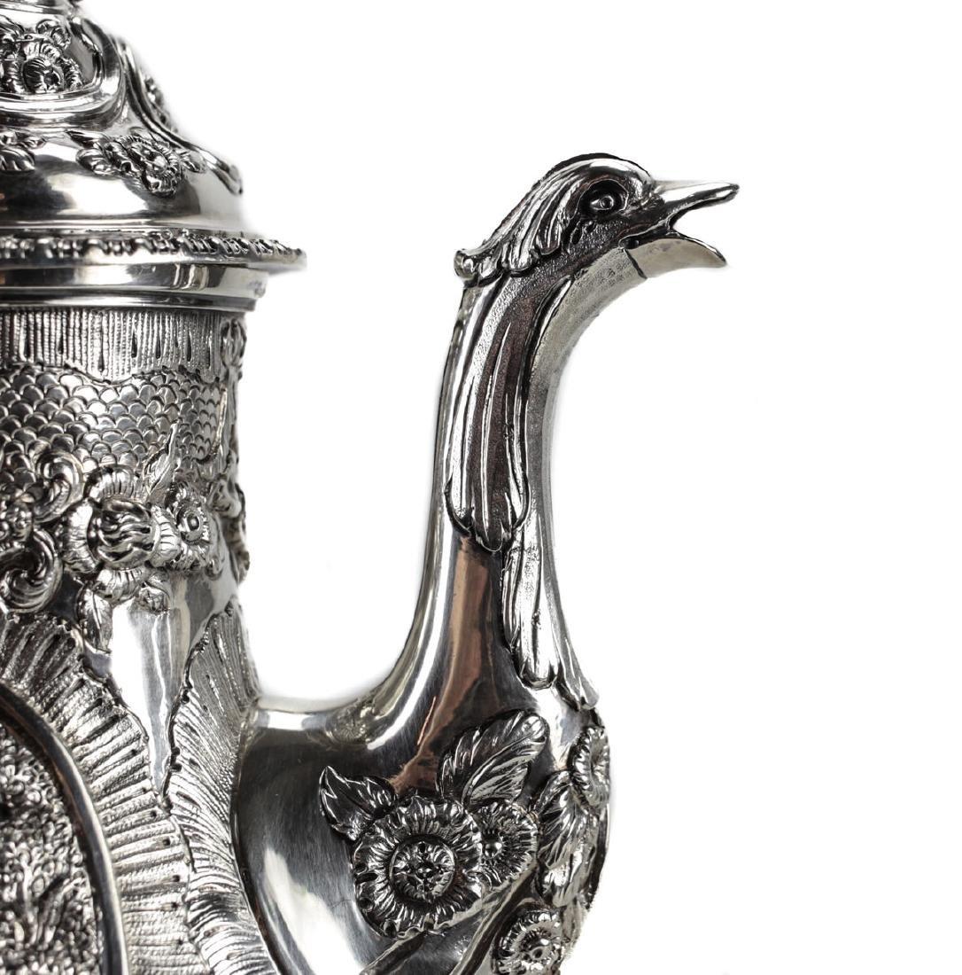 A Regency Sterling Silver Coffee Pot by William - 3