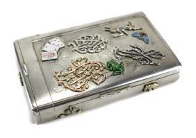 A Faberge Russian Silver Cigarette Case