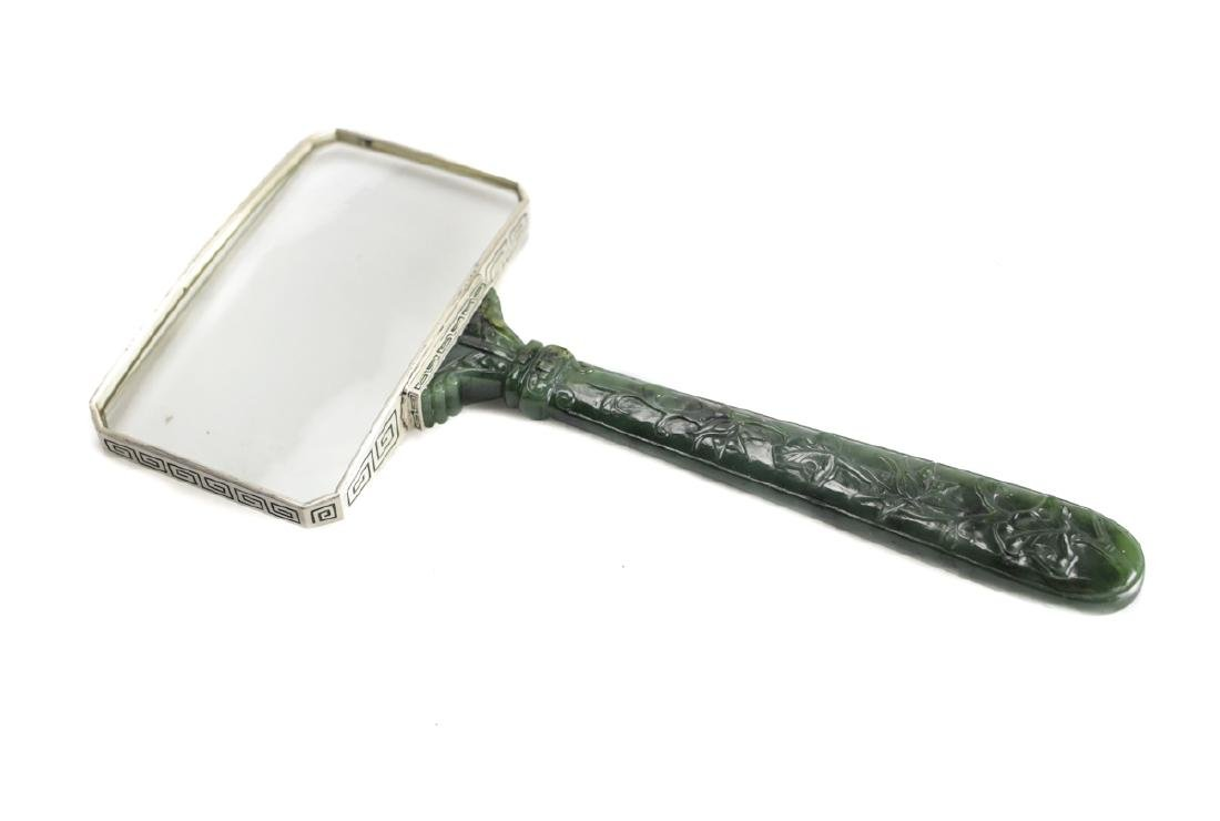 Art Deco Jade & Silver Magnifying Glass by Yamanaka - 3