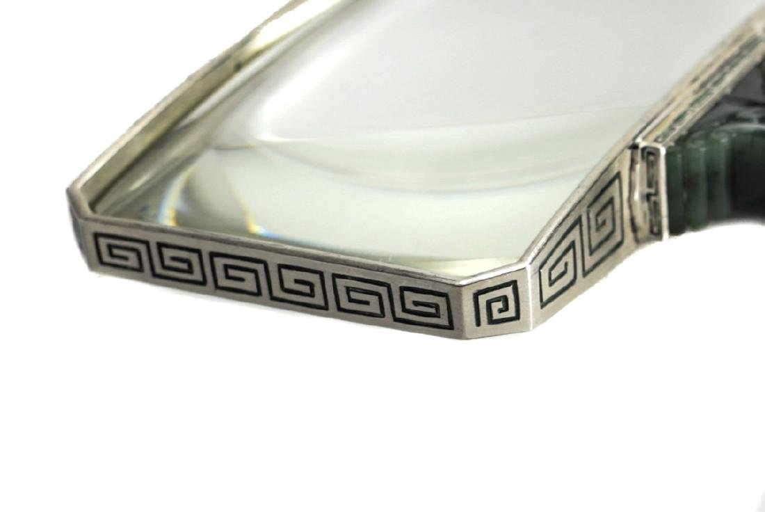Art Deco Jade & Silver Magnifying Glass by Yamanaka - 4