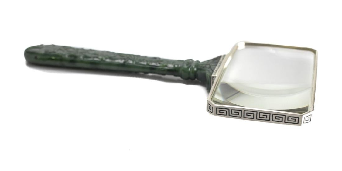 Art Deco Jade & Silver Magnifying Glass by Yamanaka - 5