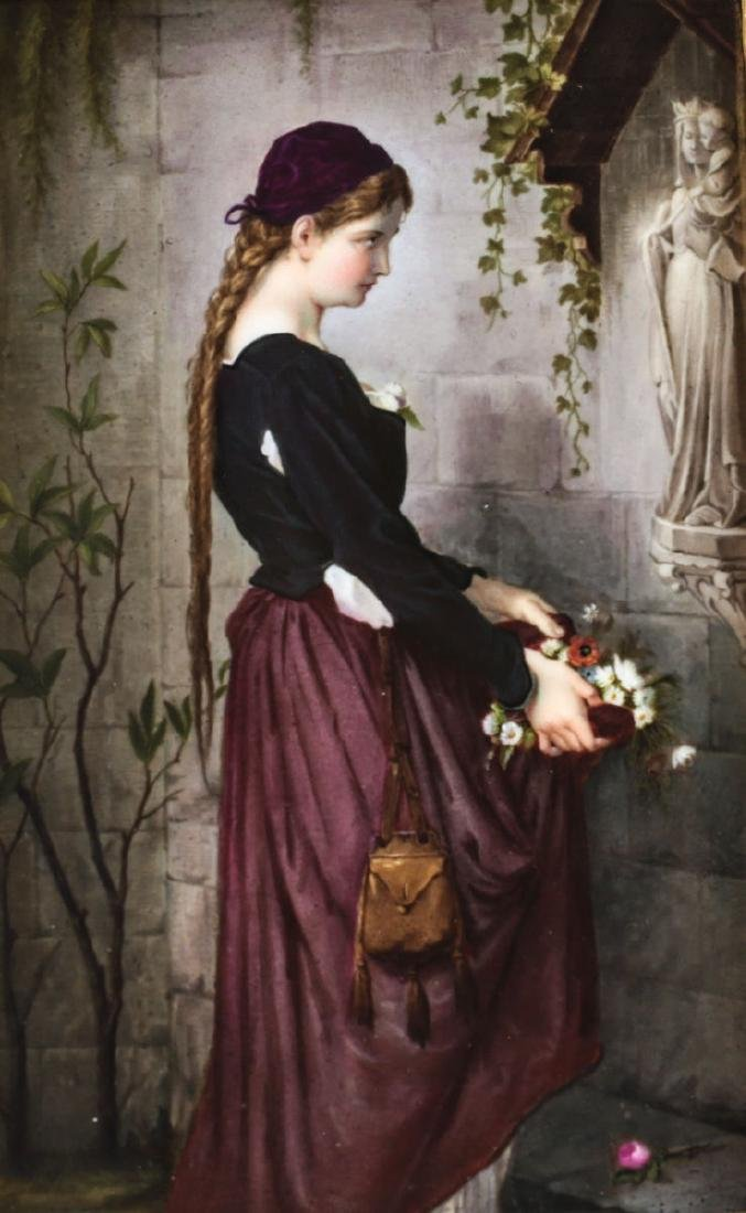 KPM Hand Painted Porcelain Plaque, 'Marguerite at the