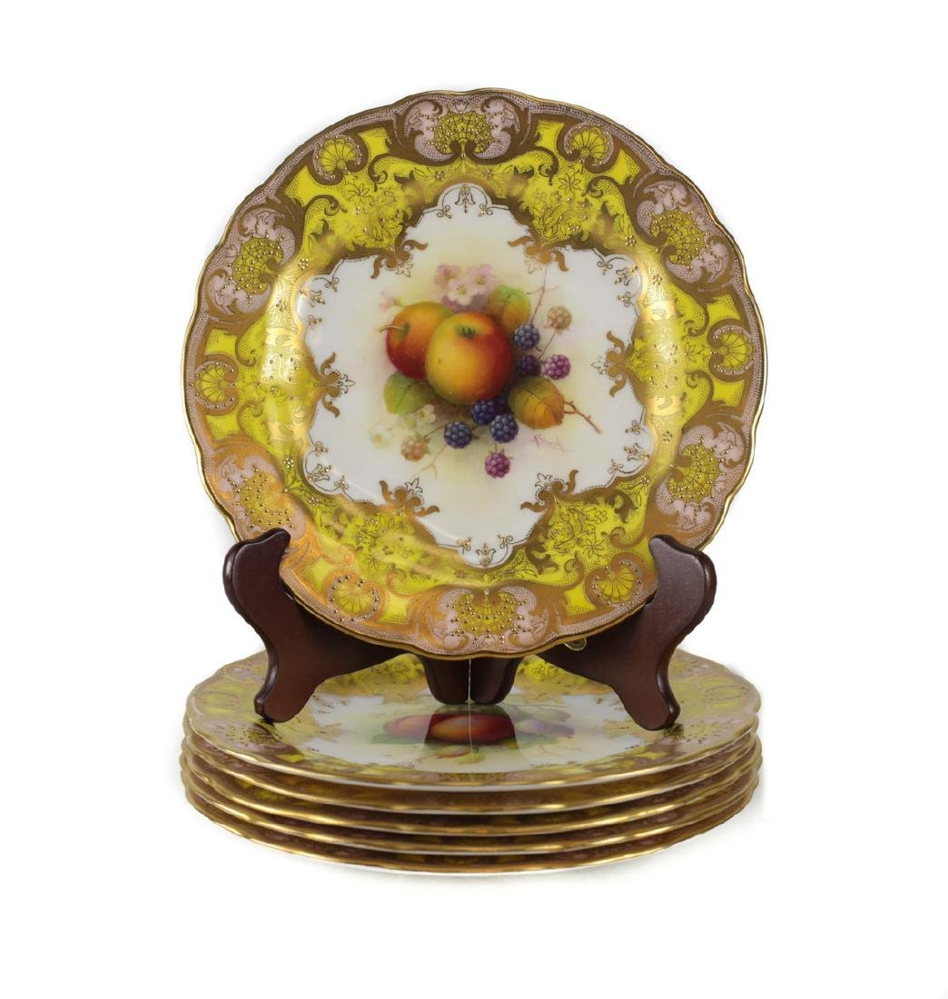 Six Royal Worcester Cabinet Plates Albert Shuck