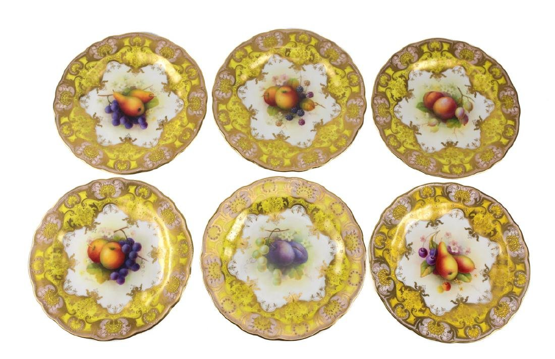 Six Royal Worcester Cabinet Plates Albert Shuck - 4