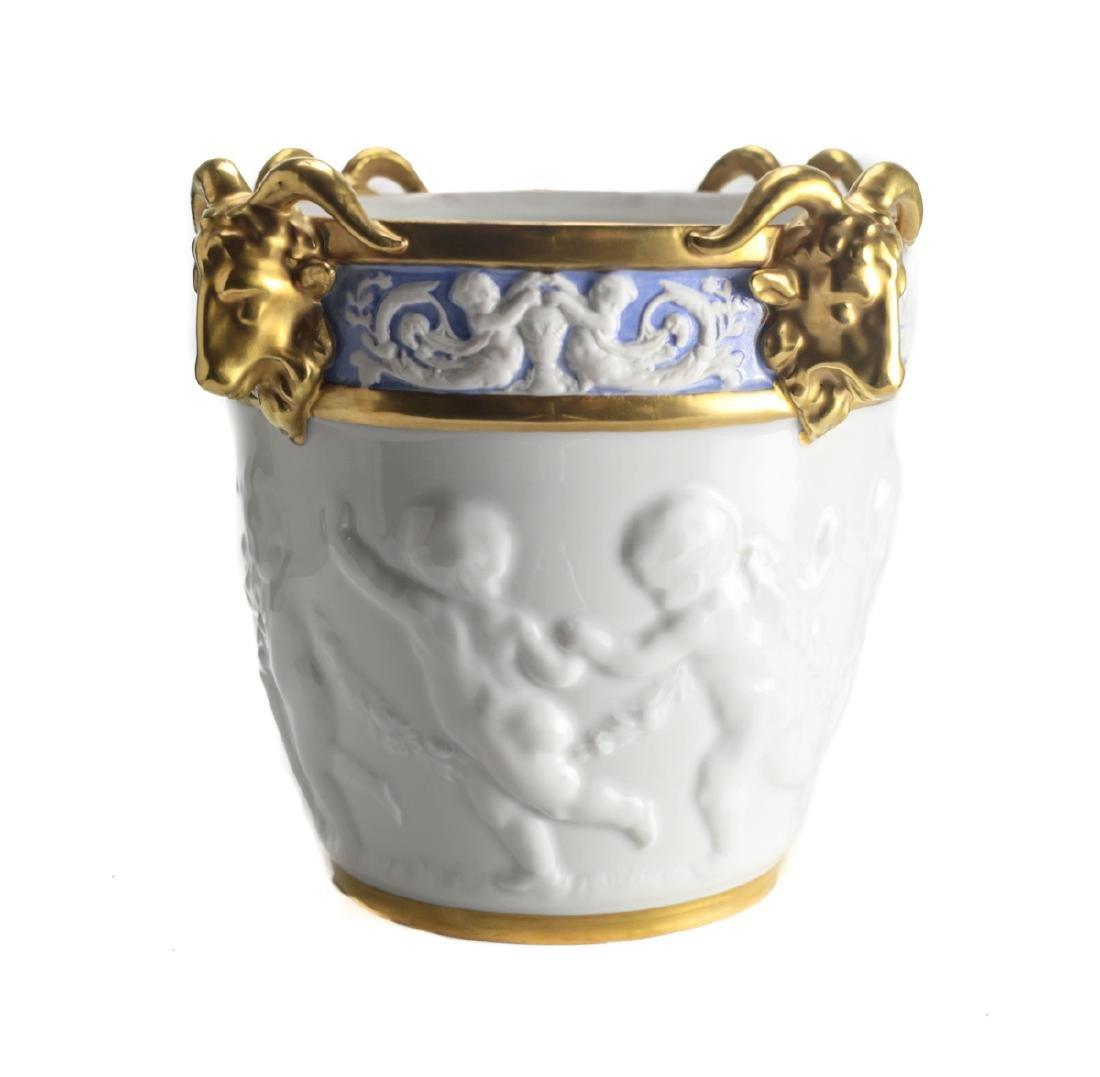 19th Century Dresden Porcelain Cache Pot