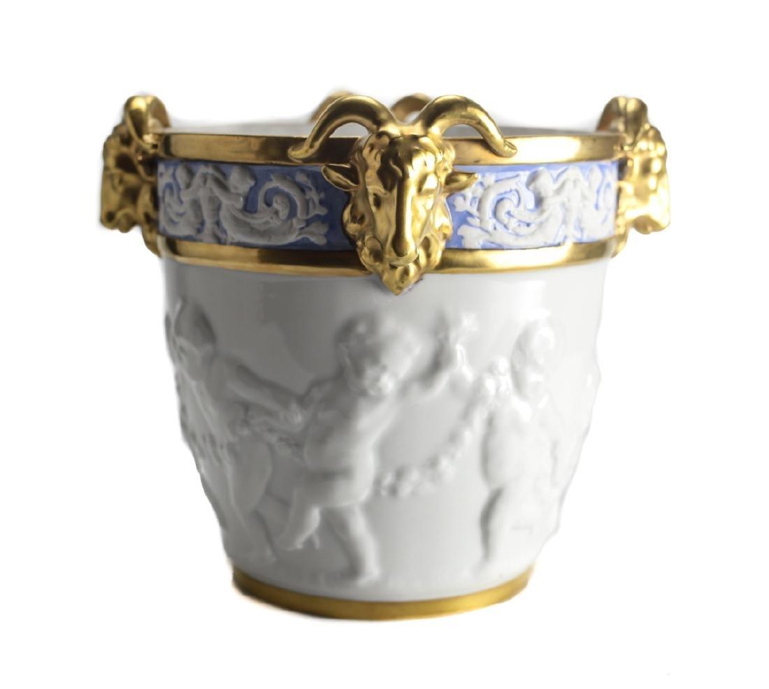 19th Century Dresden Porcelain Cache Pot - 2
