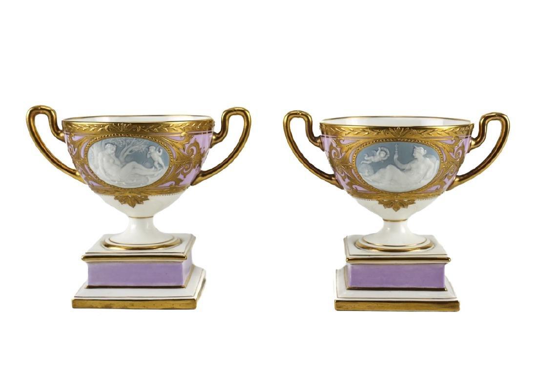 Pair of Minton Pate-Sur-Pate Trophy Cups Alboin Birks