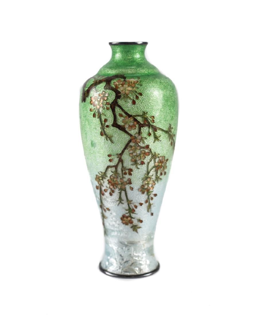 Japanese Cloisonne & Enamel  Silver Bud Vase
