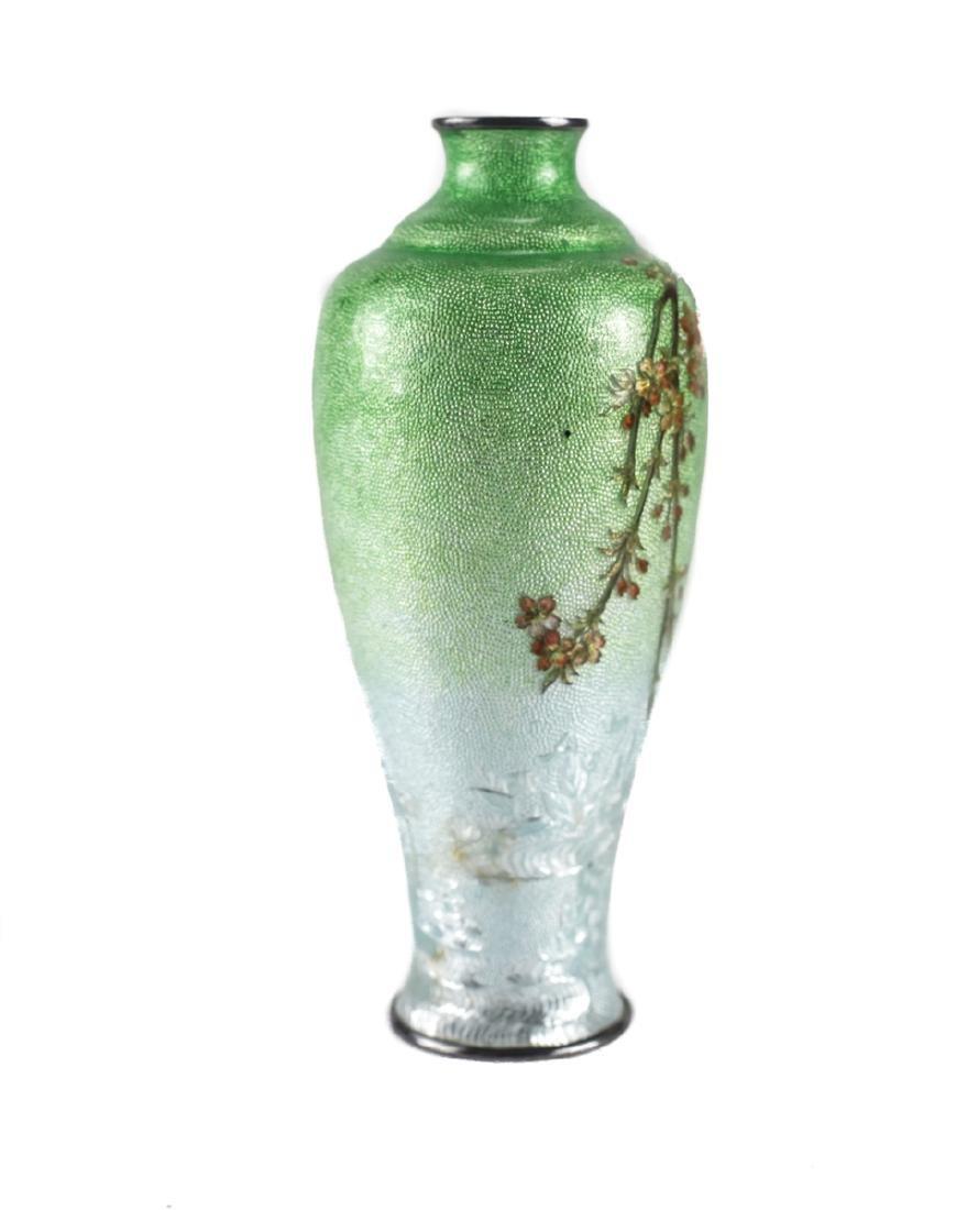 Japanese Cloisonne & Enamel  Silver Bud Vase - 2