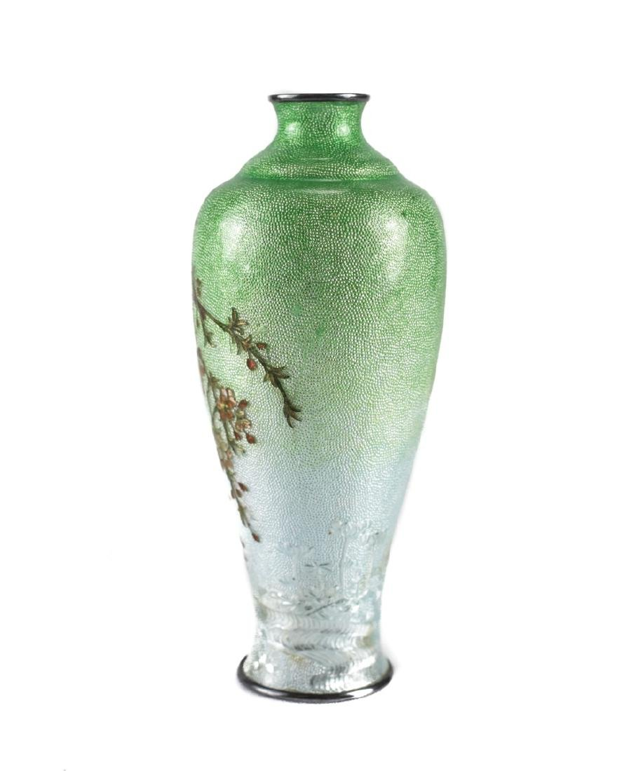 Japanese Cloisonne & Enamel  Silver Bud Vase - 3