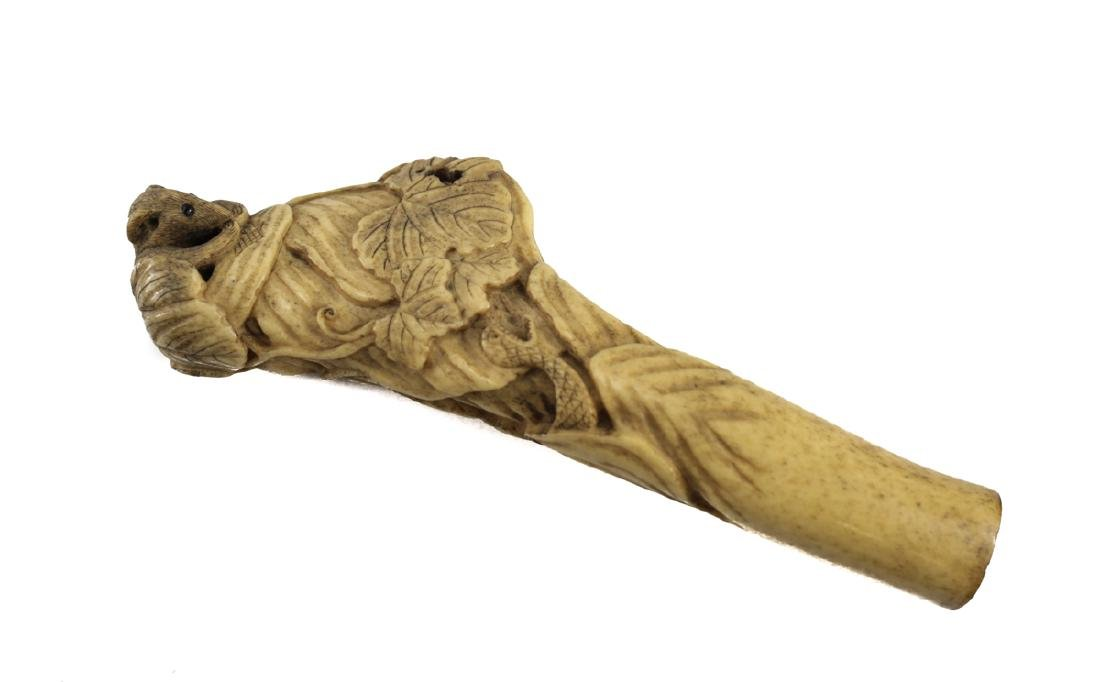 19th Century Japanese Bone Carved Cane Handle - 2