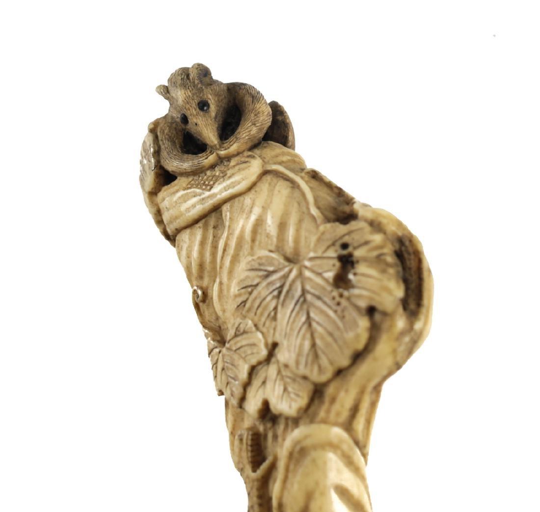 19th Century Japanese Bone Carved Cane Handle - 3