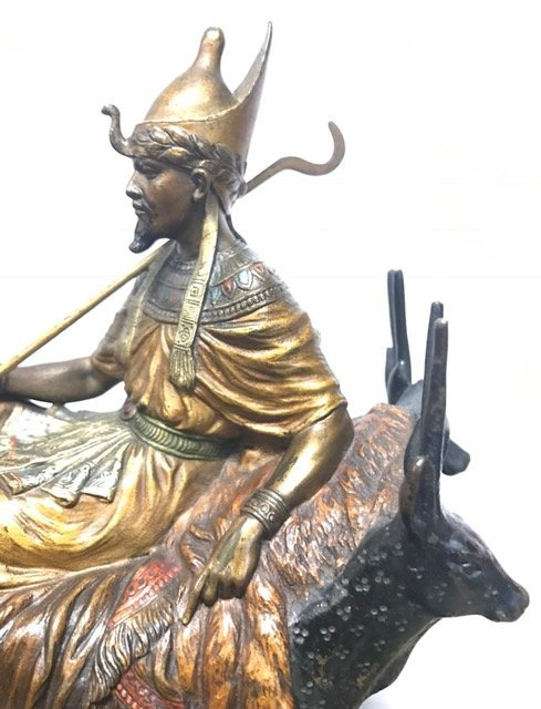 Austrian Polychrome Bronze Sculpture Egyptian King - 4