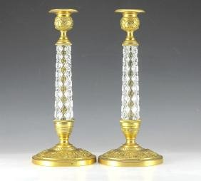 Pair Gold Plated Bronze & Crystal Candlesticks