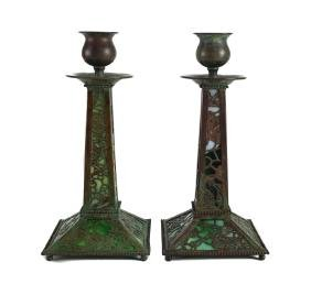 Bronze & Glass Candlesticks in Grapevine pattern