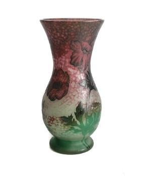 Daum Nancy Acid Etched Cameo Vase