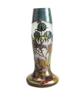 Val St Lambert Acid Etched Cameo Vase