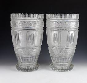 Pair of Hand Cut Crystal Vases